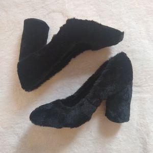 Aldo Fuzzy Black Heels